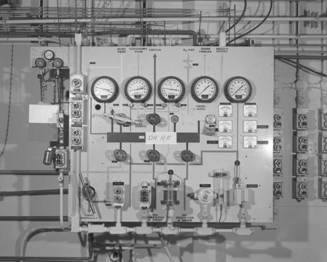 72-inch bubble chamber Gardner Denver panel. Photograph taken June 7, 1965. Bubble Chamber-1471 -  Photographer: George Kagawa