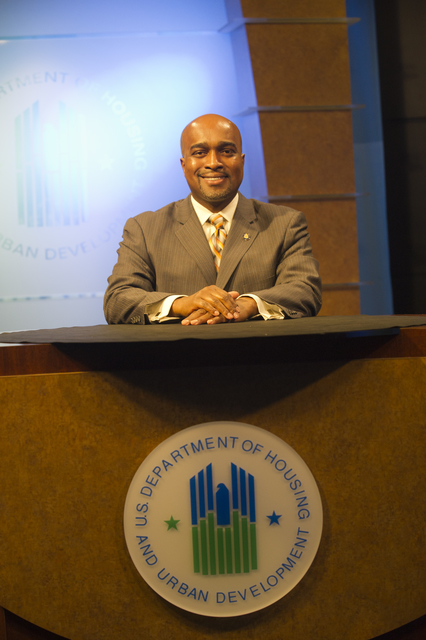 Antonio Riley, Region V (Midwest) Administrator, in HUD broadcast studio