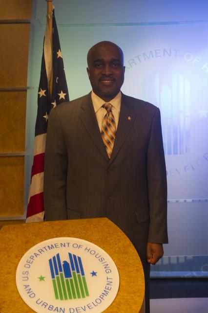 Antonio Riley, Region V (Midwest) Administrator, in HUD broadcast studio