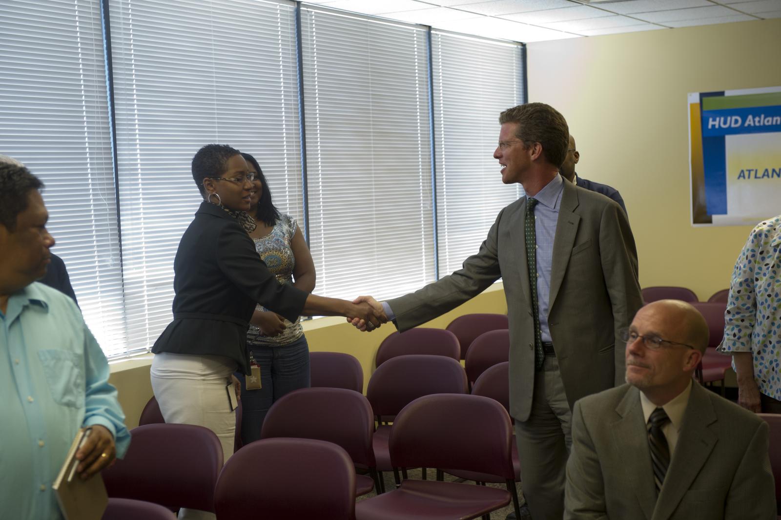 Atlanta, Georgia town hall meeting,  [with Secretary Shaun Donovan among officials on hand]
