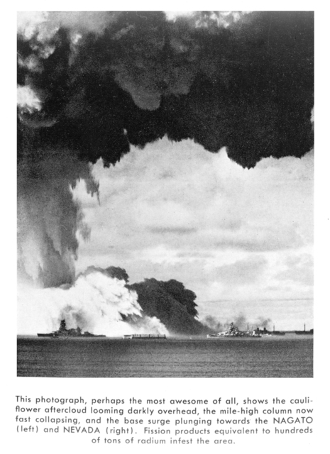 Atomic bomb cauliflower after-cloud at Bikini Atoll. Photograph of image taken October 3, 1950