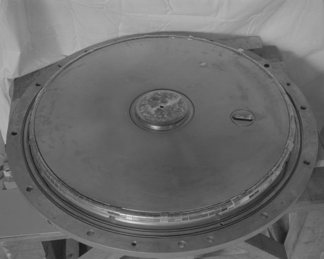 Bevatron linac II end plates. For color see Bev.-2997-C. Photograph taken September 19, 1962. Bevatron-2996 – Photographer: George Kagawa