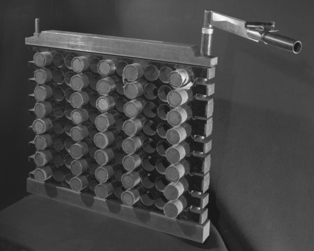 Bevatron magnet coil spacer stack test. Photograph taken December 5, 1949. Bevatron-177