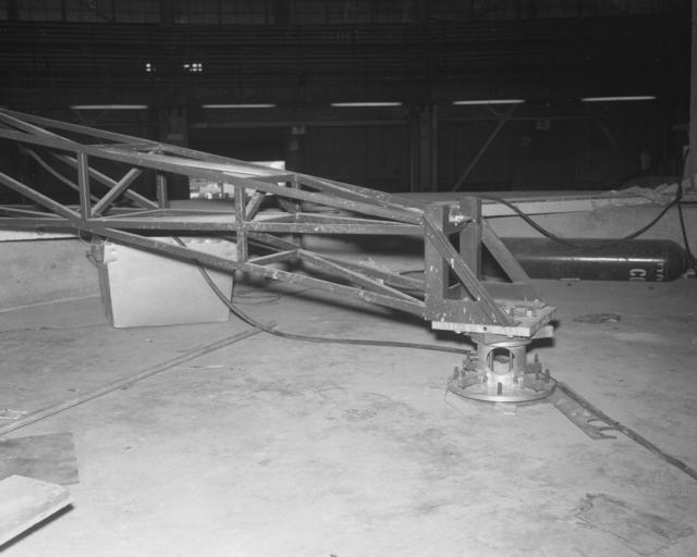 Bevatron roof shielding key positioning jig. Photograph taken January 14, 1963. Bevatron-3251 – Photographer: George Kagawa