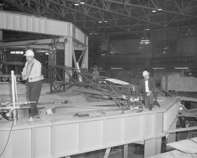 Bevatron roof shielding key positioning jig. Photograph taken January 2, 1963. Bevatron-3212 – Photographer: George Kagawa