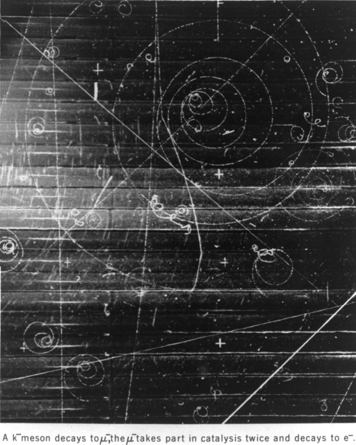 Bubble chamber event. K-meson decays to a muon, which takes part in catalysis twice and decays to an electron. Patent release 5/16/1960. Photograph undated (probably taken in March 1959). Bubble Chamber-714A