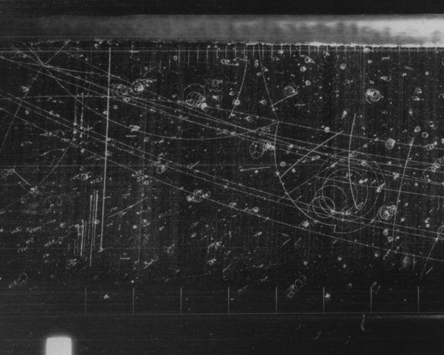 Bubble chamber event. One 4-prong antiproton annihilation. Photograph dated August 17, 1961. Bubble Chamber-1042