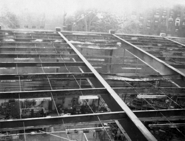 Bubble chamber explosion at Cambridge, Massachusetts, concrete-slab roof blown off. Photo requested by Ed Hoedemaker. Photograph taken October 15, 1965. Bubble Chamber-1549