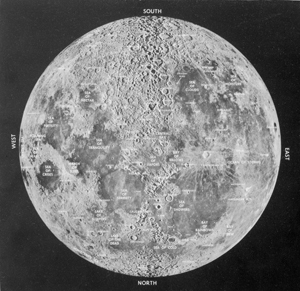 Composite picture of the moon with location and feature names (courtesy of the Lick Observatory). Photo taken from a General Electric Aerosciences Laboratory Bulletin. Photograph taken December 2, 1959