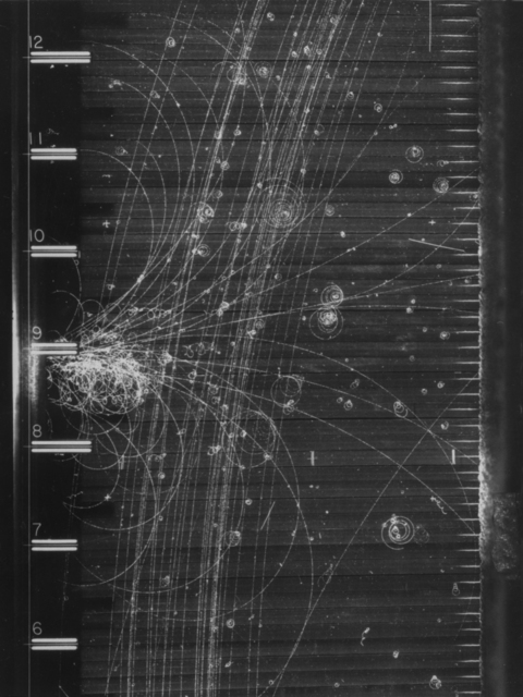 Cosmic ray event. Photograph taken July 1, 1960. Bubble Chamber-924