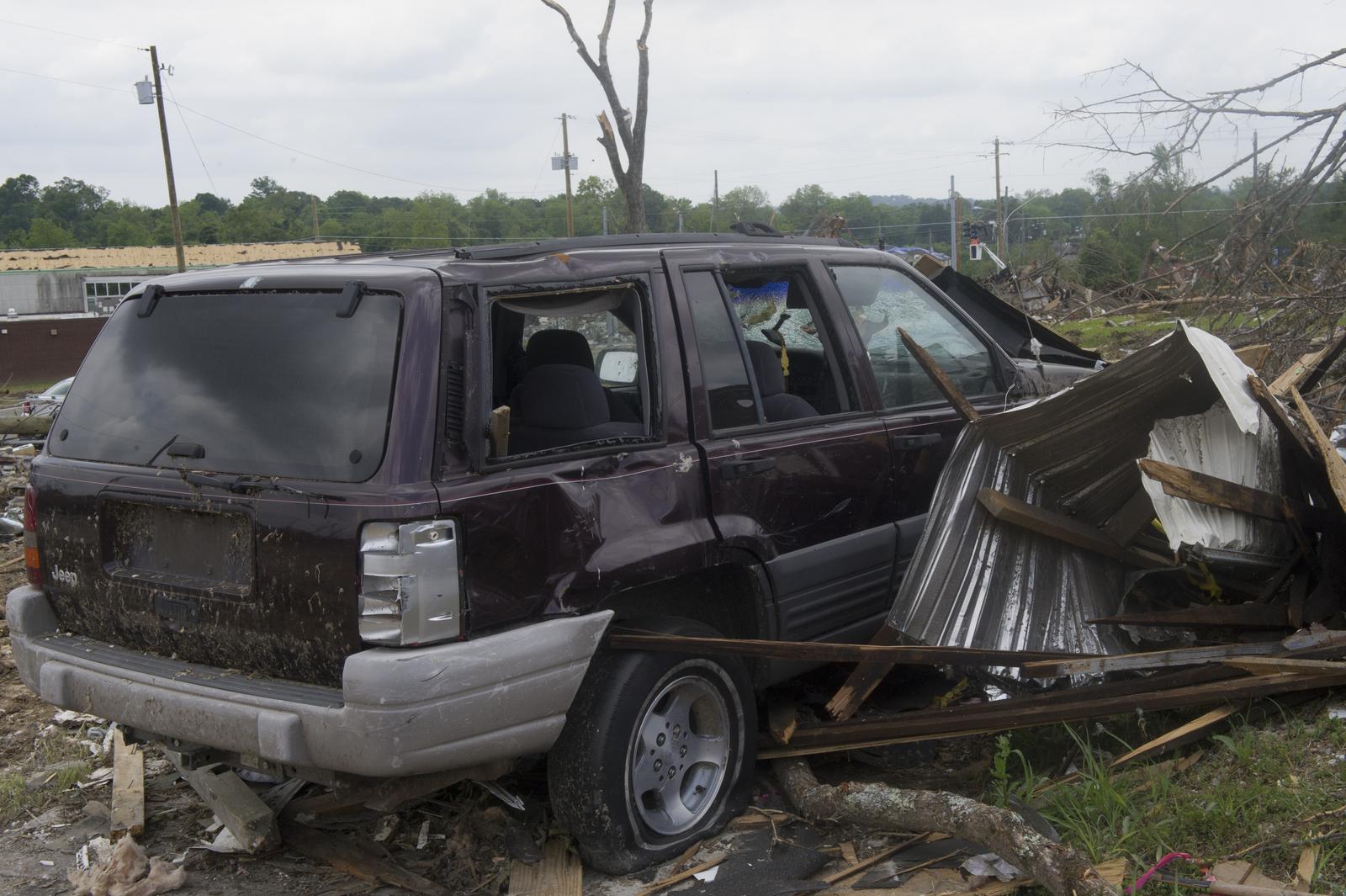 Damage, from Tuscaloosa-Birmingham, Alabama tornado, [viewed by Secretary Shaun Donovan during visit to the state]