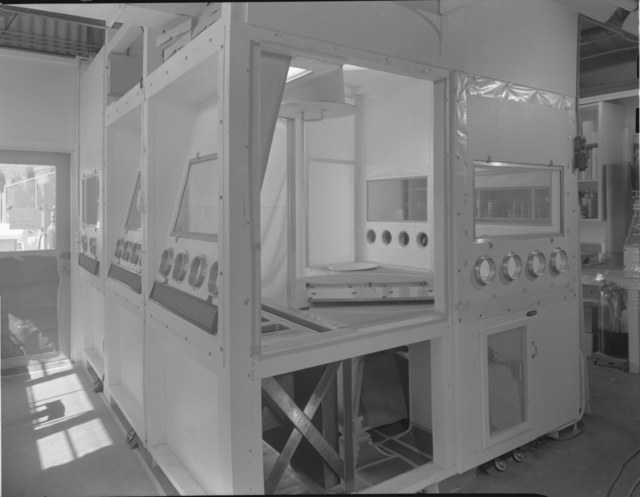Decontamination chamber for glove boxes (exterior), building 5 annex. Photograph taken April 21, 1952. Health Pro-271