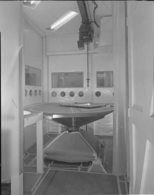 Decontamination chamber for glove boxes (interior), building 5 annex. Photograph taken April 21, 1952. Health Pro-272