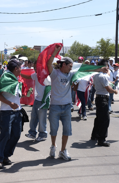 Demonstration by Hispanics [and other groups] on behalf of immigrant rights, Houston, Texas