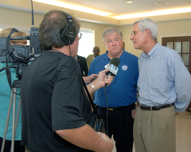 Deputy Secretary Roy Bernardi on tour of Biloxi, Mississippi with Mississippi Governor Haley Barbour, visiting new homes and senior center two years after Hurricane Katrina