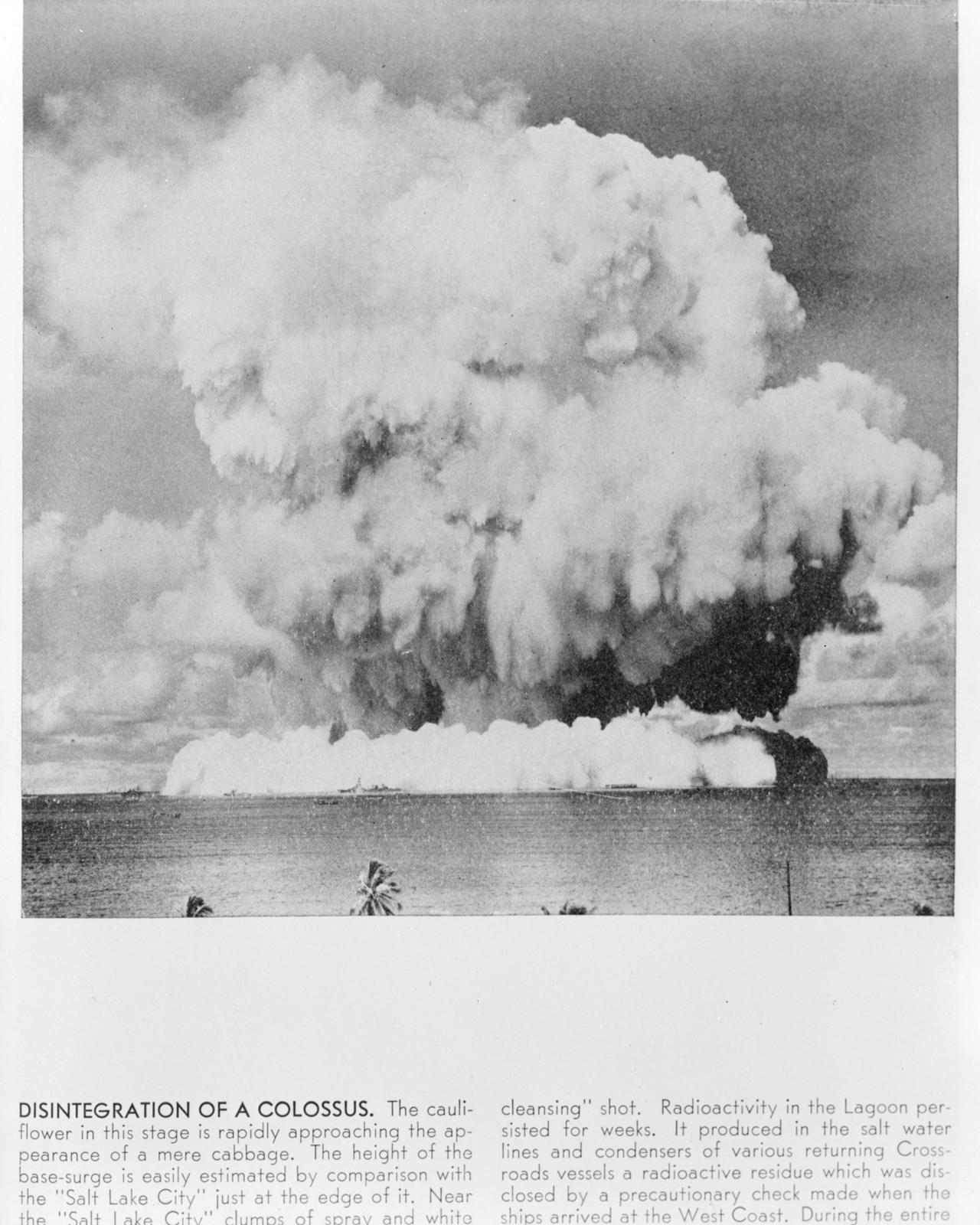 Atomic bomb explosion at Bikini Atoll, Operation Crossroads. Photograph