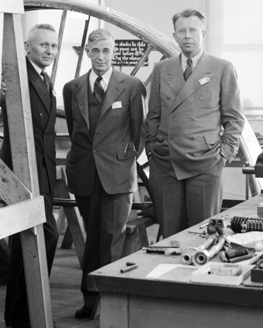 Donald Cooksey, Robert Sproul, and Ernest Orlando Lawrence. Photo taken 3/19/1943