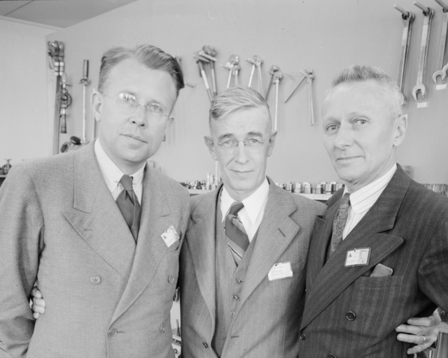 Donald Cooksey, Robert Sproul, and Ernest Orlando Lawrence. Photograph taken March 19, 1943