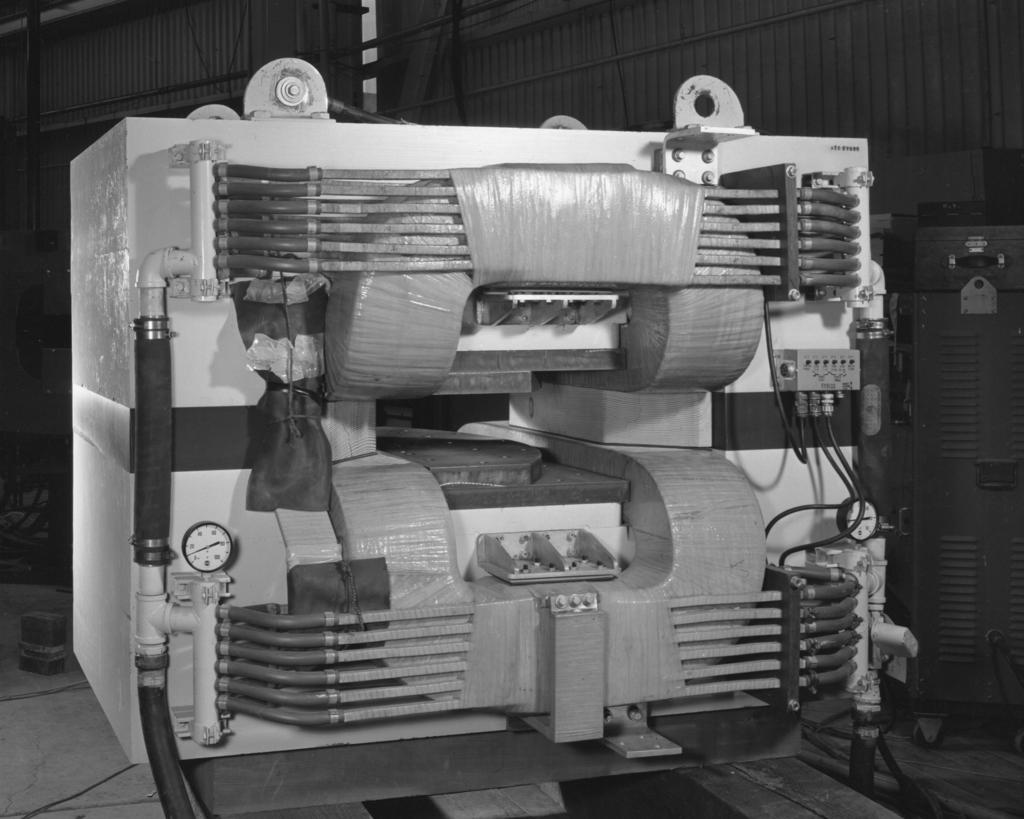 Double return path magnet, 18 X 36 pole. Patent clearance 6/25/1959. Photograph taken December 2, 1957. Bevatron-1416