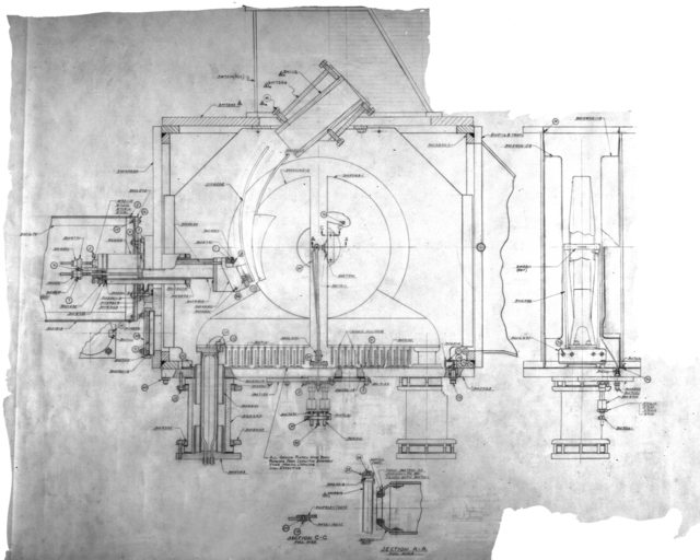 Drawing of dee and deflector assembly on injection cyclotron for 1/4 scale bevatron operating model. Associated individual: William Brobeck. August 24, 1949. Bevatron Model-299. Model briefly referred to as the Cyclodrome