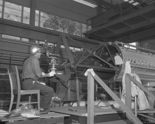 Drift tube installation and alignment, Bob Richter. Photograph taken November 13, 1961. Bevatron-2529 – Photographer: George Kagawa/Doug McWilliams