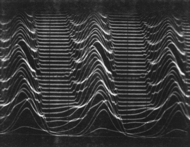 "Dual-axis time display: 0.5 m-sec/cm horizontal; 6 cm vertical for 2 m-sec. Sweep delay ""dead time"" about 60 micro-seconds. Photograph taken August 19, 1964. Bevatron-3618"