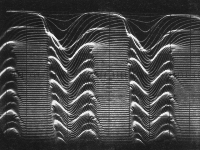 "Dual-axis time display: 0.5 m-sec/cm horizontal; 6 cm vertical for 2 m-sec. Sweep delay ""dead time"" about 30 micro-seconds. Photograph taken August 19, 1964. Bevatron-3617"