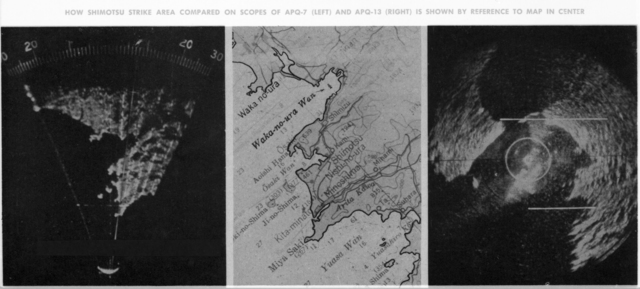Effects of increased resolution on radar mapping. Eagle map (left) and standard 3 centimeter radar map (right). Copied from Luis Alvarez' personal photos. Caption on photo: How Shimotsu strike area compared on scopes of APQ-7 (left) and APQ-713 (right) is shown by reference to map in center. Morgue 1946-8 (P-12); ZN 3283 [photographer unknown]