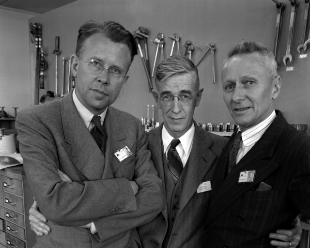 Ernest Orlando Lawrence, Robert Gordon Sproul (President of the University of California) and Donald Cooksey. Photograph taken March 14, 1943. Misc.-9A