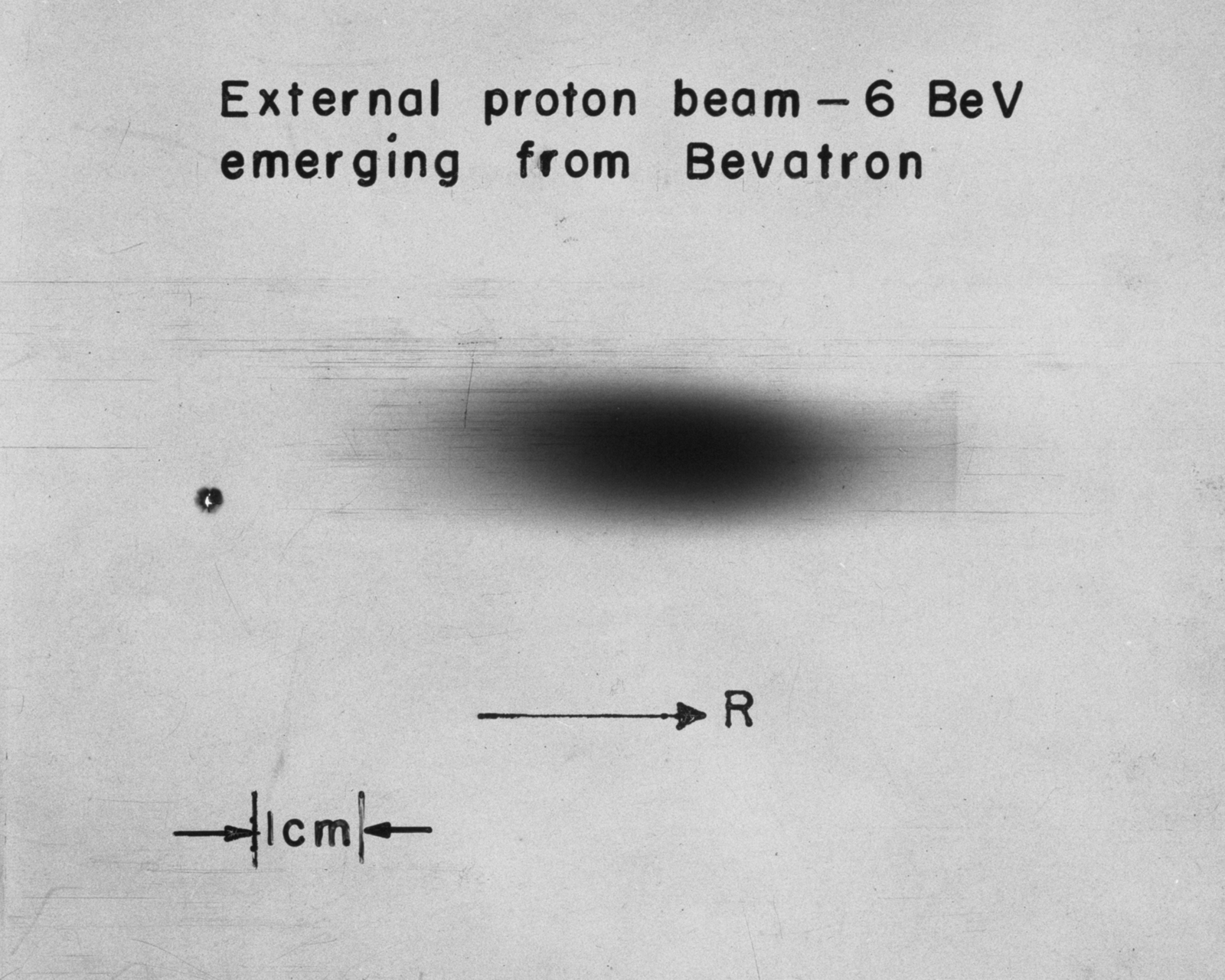 External proton beam: 6-BeV emerging from the Bevatron. Photograph taken July 8, 1963. Bevatron-3390