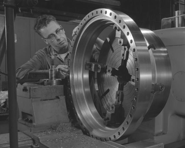 Fabricating bubble chamber support legs. Photograph taken November 26, 1962. Bubble Chamber-1222 -  Photographer: George Kagawa