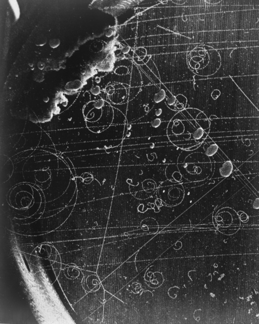 Feynman diagram from 10-inch bubble chamber run at Bevatron. Richard Phillips Feynman, American theoretical physicist. Photograph taken March 26, 1956. Bubble Chamber-78