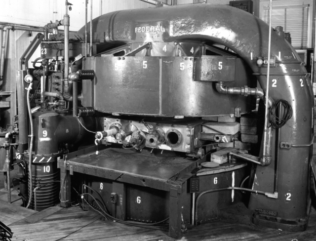 First test of synchro-cyclotron in the 37-inch magnet. Caption provided by Ed Lofgren, taken in late 1945 or early 1946. Principal Investigator/Project: Analog Conversion Project