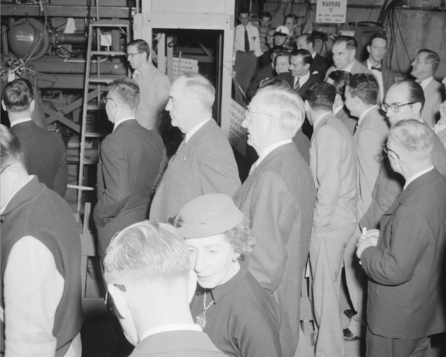 Giovanni Gronchi, Italy's President (center,) touring the Bevatron. Robert Gordon Sproul, UC Berkeley President (right.) Photograph taken March 12, 1956
