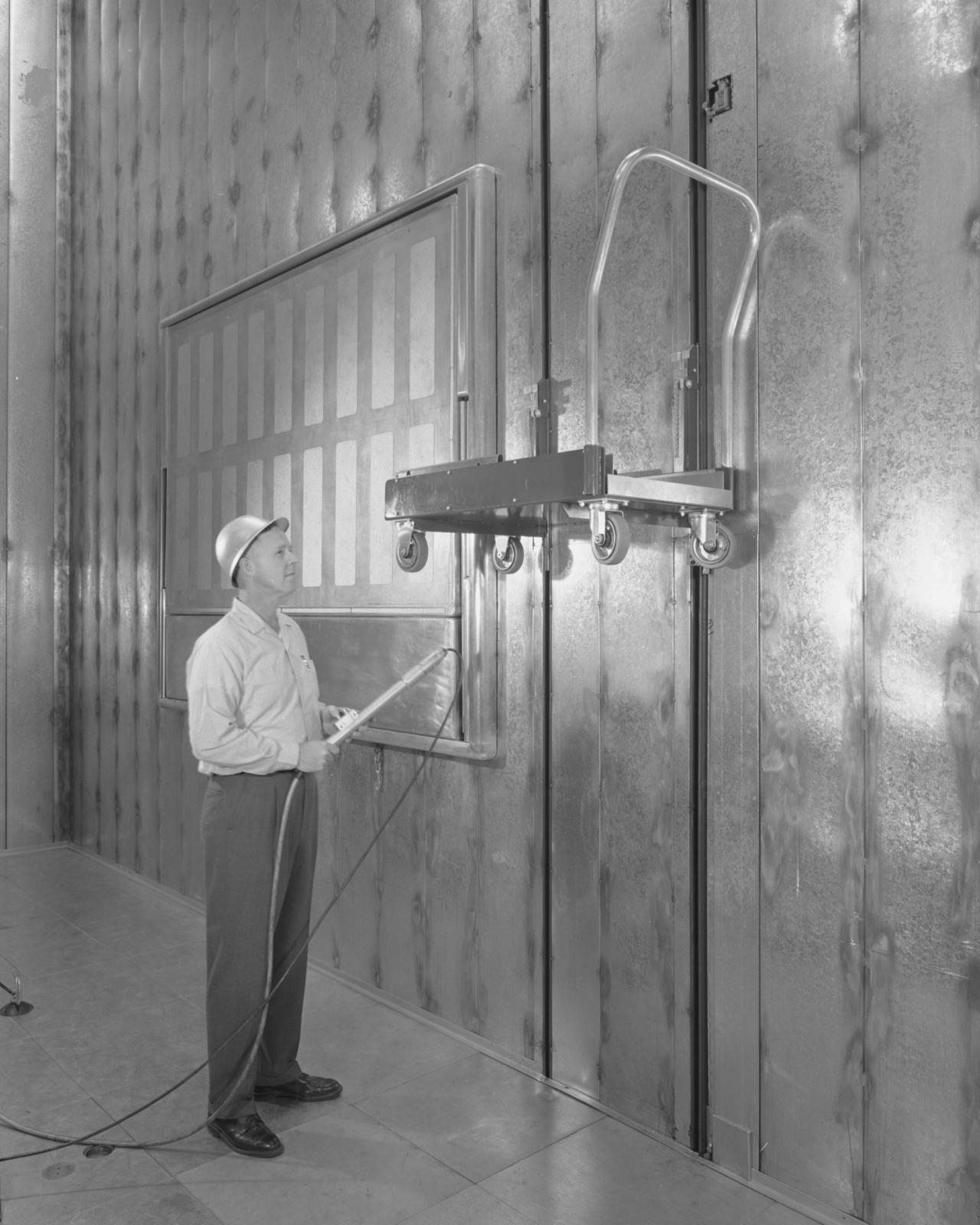 High-voltage terminal platform and winch. Photograph taken March 25, 1963. Bevatron-3352 – Photographer: George Kagawa