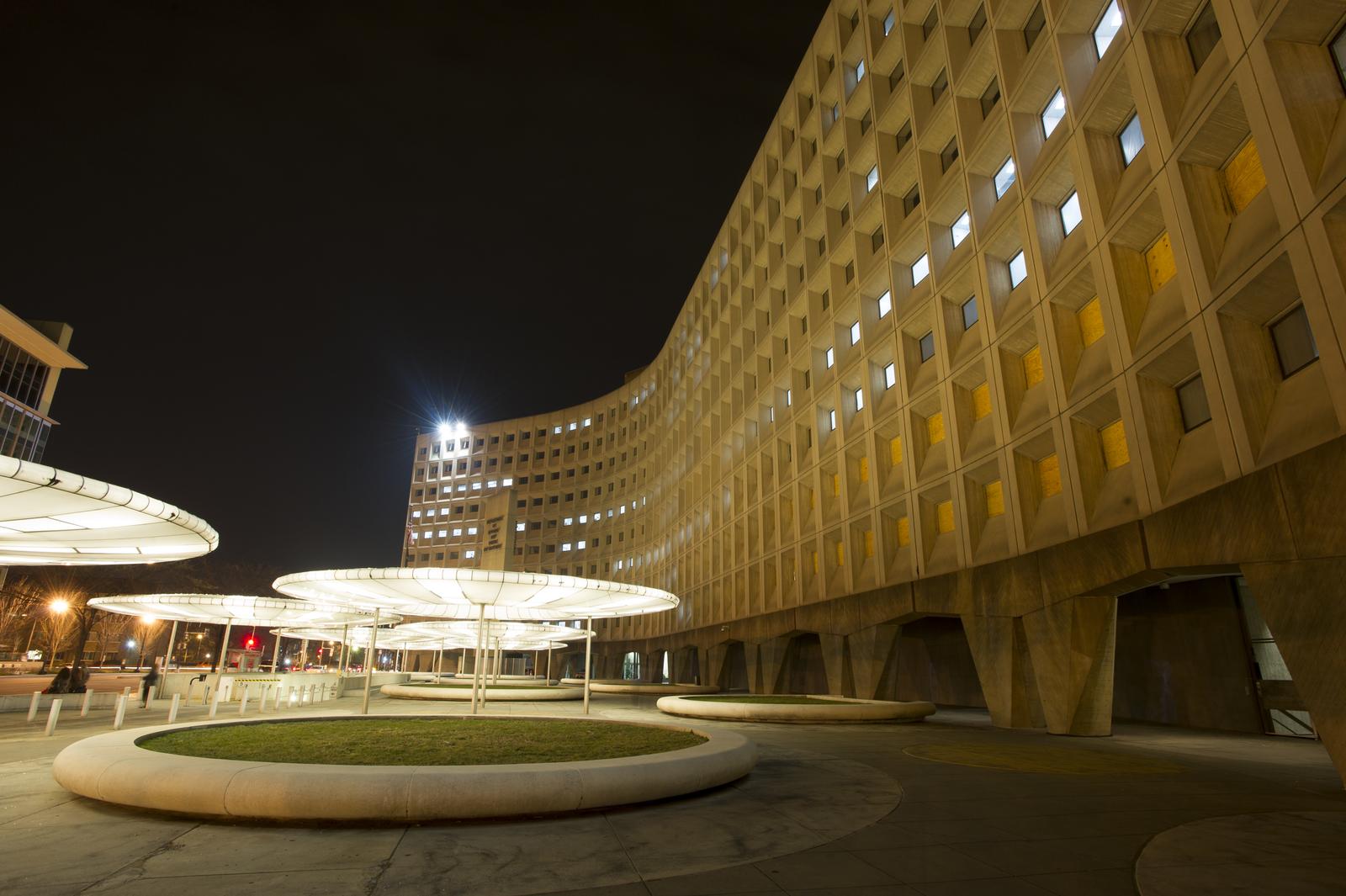 HUD headquarters building at night:  Robert C. Weaver Federal Building