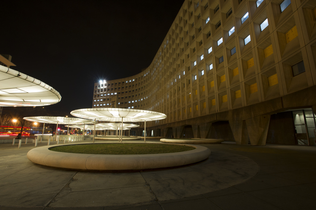 HUD headquarters building at night:  Robert C. Weaver Federal Building