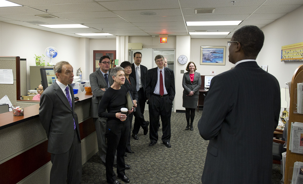 HUD Library tour [for group of senior officials, including]  Secretary Shaun Donovan, Deputy Secretary Ron Sims, and Assistant Secretary for Policy Development and Research, Raphael Bostic