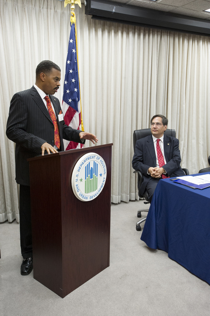 [HUD-National Association of Real Estate Brokers (NAREB)] Memorandum of Understanding signing  [event, with HUD Assistant Secretary for Fair Housing and Equal Opportunity, John Trasvina, and NAREB President Julius Cartwright leading the proceedings]