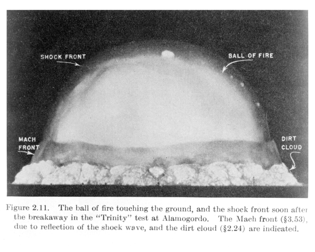 """Image and diagram of the """"'Trinity"""" test at Alamogordo, from """"The Effects of Atomic Weapons."""" Photograph of image taken October 3, 1950"""