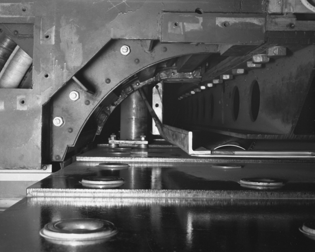 Inside radius of the lower coil throat of west tangent tank. Photograph taken December 19, 1958. Bevatron-1724