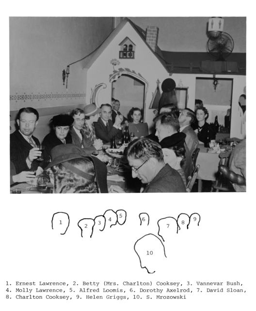 LBL party at DiBiasi╒s, 860 San Pablo Avenue, Albany, California.  Clockwise around the table: Ernest O. Lawrence, Betty (Mrs. Charlton) Cooksey, Vannevar Bush, Molly (Mrs. Ernest) Lawrence, Alfred Loomis, Dorothy Axelrod, Helen Griggs (HLS), Charlton Cooksey, David Sloan, and S. Mrozowski. Image includes legend. Principal Investigator/Project: Image Library Project [Photographer: Donald Cooksey]