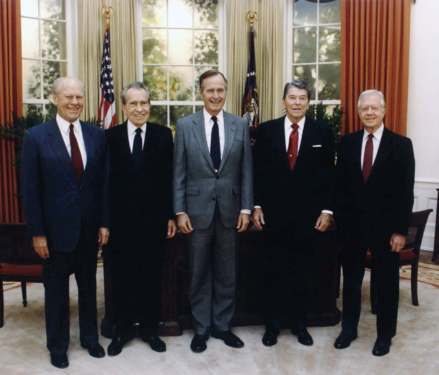 Left to right:  Former Presidents Gerald Ford and Richard Nixon,  President George H.W. Bush,  former Presidents Ronald Reagan and Jimmy Carter at opening of Ronald Reagan Presidential Liibrary, Simi Valley, California