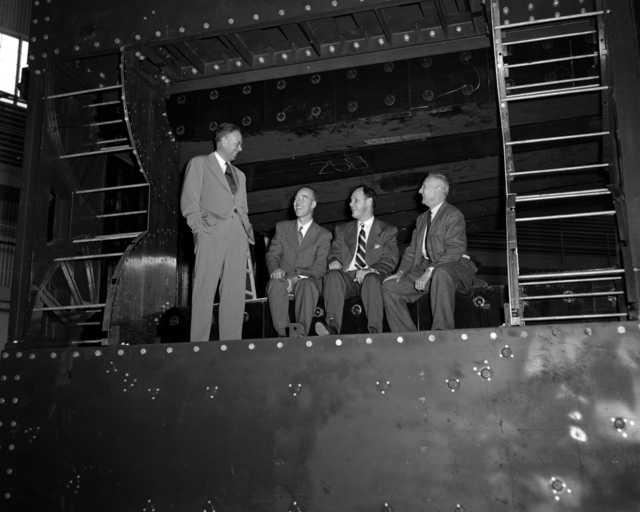 Left to Right: Professor Ernest Orlando Lawrence, William Brobeck, Dr. Harold Fidler And Dr. Donald Cooksey in the Bevatron core gap in Building 51. Photo taken 11/22/1950. Misc.-656