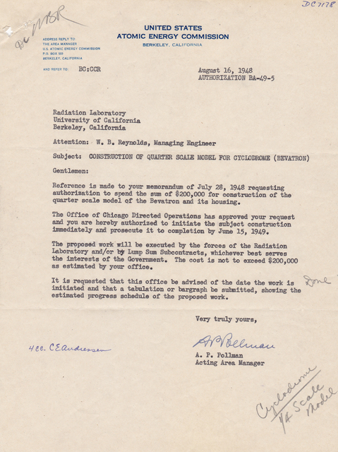 Letter associated with 1/4 scale model bevatron; Beva/4; Cyclodrome. To: W.B. Reynold, from: A.P. Pollman, Atomic Energy Commission, Subject: Funding approval. Dated August 16, 1948