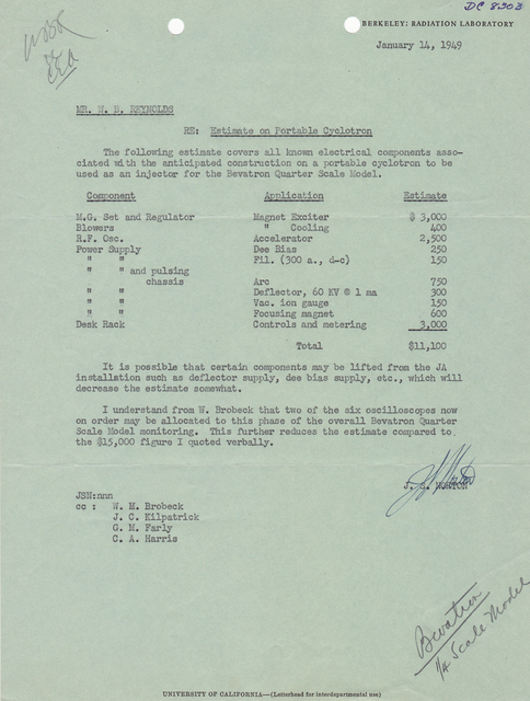 Letter associated with 1/4 scale model bevatron; Beva/4; Cyclodrome. To: W.B. Reynolds, from: J.S. Norton, Subject: cost estimate for portable cyclotron. Dated January 14, 1949