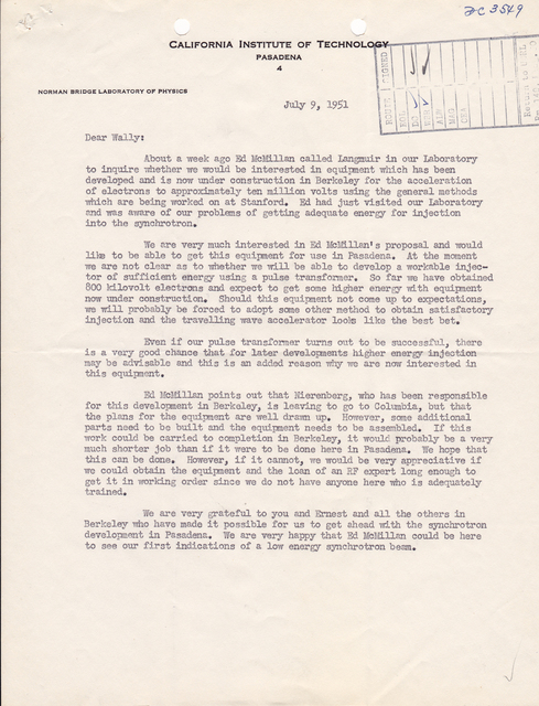 Letter associated with 1/4 scale model bevatron; Beva/4; Cyclodrome. To: W.B. Reynolds, from: R.F. Bacher, California Institute of Technology, Pasadena, Subject: Responding to offer of bevatron equipment. Dated July 9, 1951. Page 1 of 2