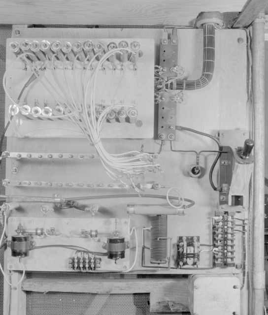 Linear accelerator electric power cage. Photograph taken July 21, 1947. LINAC-463