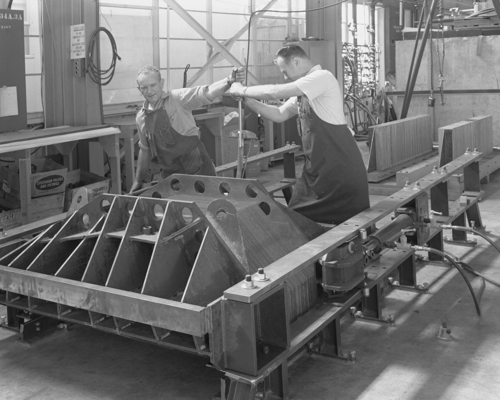 M-4 magnet core for external proton beam. Photograph taken September 24, 1963. Bevatron-3447 – Photographer: Doug Bradley