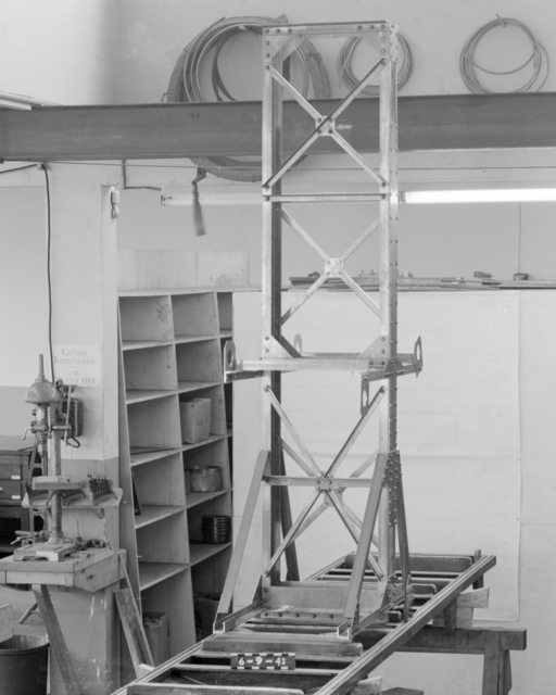 Magnetic field scanner, 184-inch cyclotron. Associated with Wilson Marcy Powell, Professor of Physics, UC Berkeley, Lawrence Berkeley Laboratory, Lawrence Livermore Laboratory, and Oak Ridge National Laboratory; Guggenheim Fellowship, Manhattan Project, 184-inch cyclotron, head of magnet group. Formerly confidential. Photograph taken June 9, 1943. Magnet-57